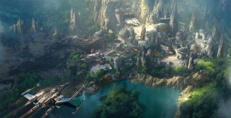 Concept art of Star Wars land at Disneyland.