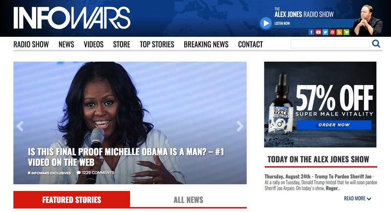 Screenshot from the InfoWars homepage this morning, featuring a story claiming that former First Lady Michelle Obama might be a man (Screenshot)