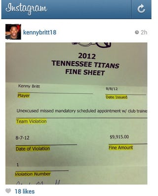 Illustration for article titled Kenny Britt Posted The Fine He Got From The Titans On Instagram