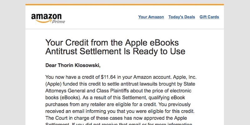 Illustration for article titled Apple Begins Paying Out on Ebook Settlement, Check Your Amazon Account For Credits