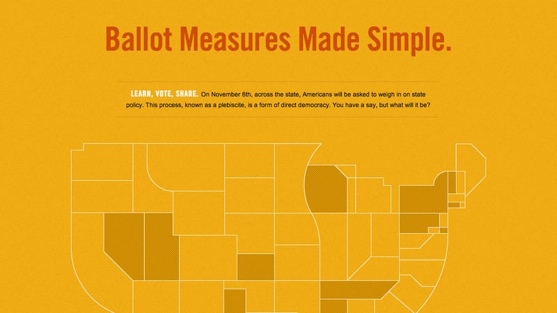 Illustration for article titled Ballot Measures Made Simple Gives You Both Sides of the Argument on State Initiatives