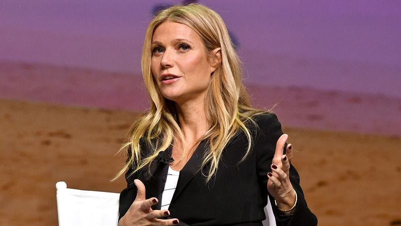 Paltrow probably explaining how technology is cyclical onstage at a recent lifestyle conference in L.A. (Photo by Mike Windle/Getty Images for Airbnb)