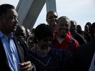On Pettus Bridge: Rev. Jesse Jackson, Winnie Mandela (M. Eversley)