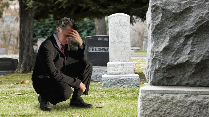 Illustration for article titled Romney Spends Day Tearfully Apologizing At Father's Grave