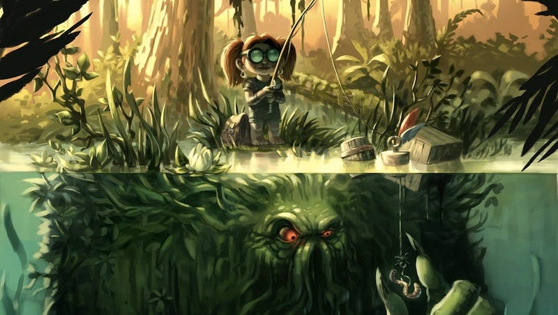 Illustration for article titled Concept Art Writing Prompt: Creepy little girl goes fishing for monsters
