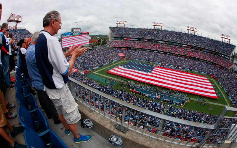 Fireworks shell goes off in upper deck of Titans' stadium
