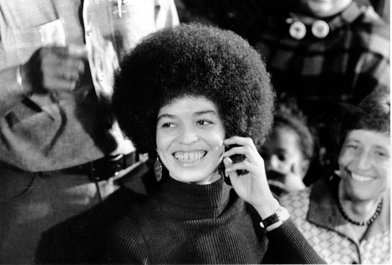 Angela Davis on Feb. 25, 1972, a day after she was released on $102,500 bail for murder, conspiracy and kidnapping charges  in connection with the escape attempt at a Marin County Courthouse shoot-out in California in August 1970 (AP Images)
