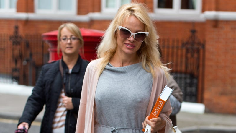 Pamela Anderson delivers lunch to Julian Assange at the Ecuadorian Embassy in London on October 15, 2016. Image via Getty.