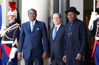 Chadian President Idriss Deby (second from left), French President Francois Hollande (third from left) and Nigerian President Goodluck Jonathan (right) before an African security summit on May 17, 2014, at the Élysée Palace in Paris.Thierry Chesnot/Getty Images