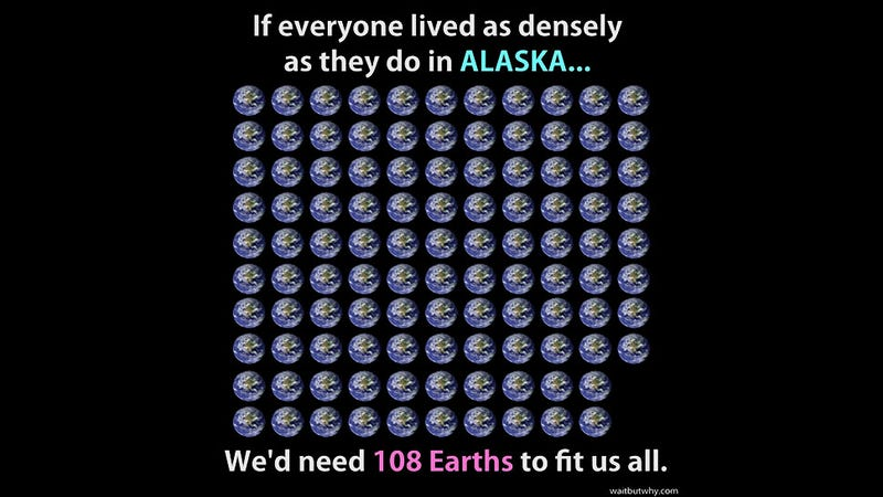 Illustration for article titled How Many Earths Would We Need to Live As Far Apart As Alaskans Do?