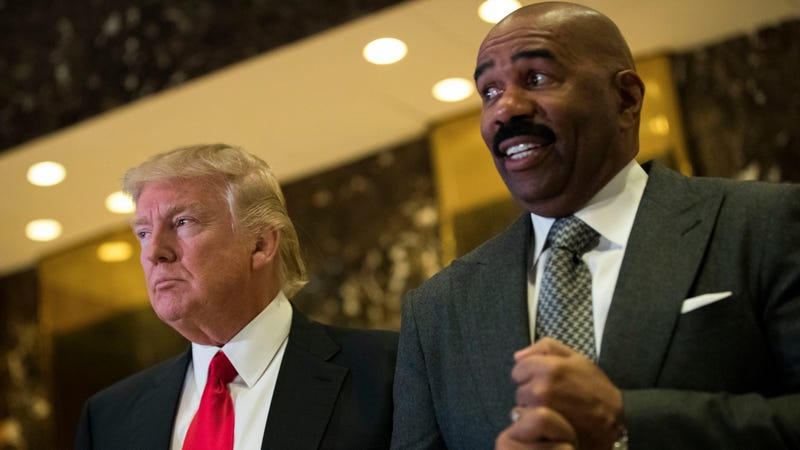 President-elect Donald Trump and television personality Steve Harvey speak to reporters after their meeting at Trump Tower on Jan. 13, 2017, in New York City. (Drew Angerer/Getty Images)