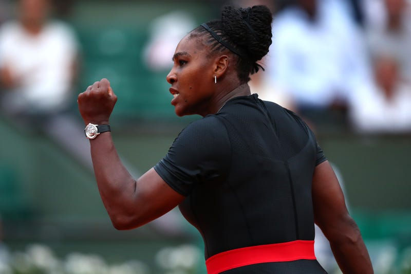 Serena Williams celebrates during the ladies' singles second-round match against Ashleigh Barty during day 5 of the 2018 French Open at Roland Garros on May 31, 2018, in Paris.