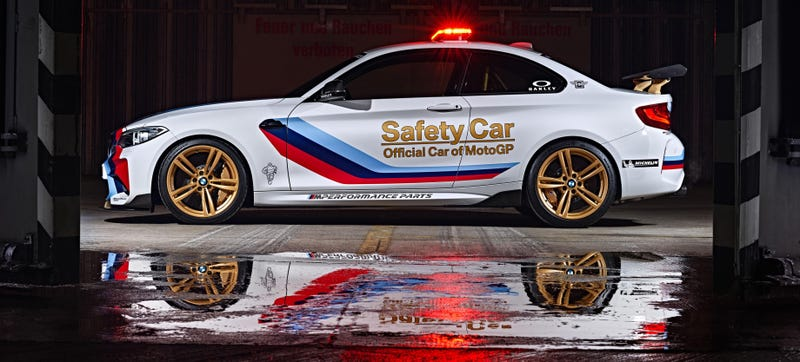 Illustration for article titled The BMW M2 Gets Decked Out In Gold To Become MotoGP's Badass New Safety Car