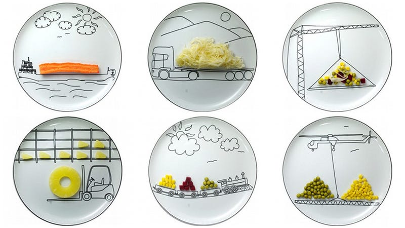 Illustration for article titled Transportation Plates Make Dinner a Moving Experience