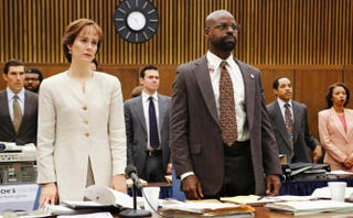Sarah Paulson as Marcia Clark and Sterling K. Brown as Christopher Darden in FX'sThe People v. O.J. SimpsonFX