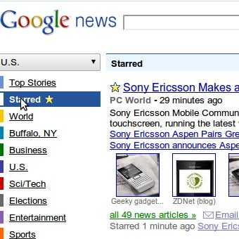 Illustration for article titled Google News Adds Stars for Topic Tracking