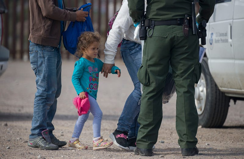 A young child is seen as she along with other migrants are processed by Border Patrol agents after being detained when they crossed illegally into the United States from Mexico on June 02, 2019 in Sunland Park, New Mexico.