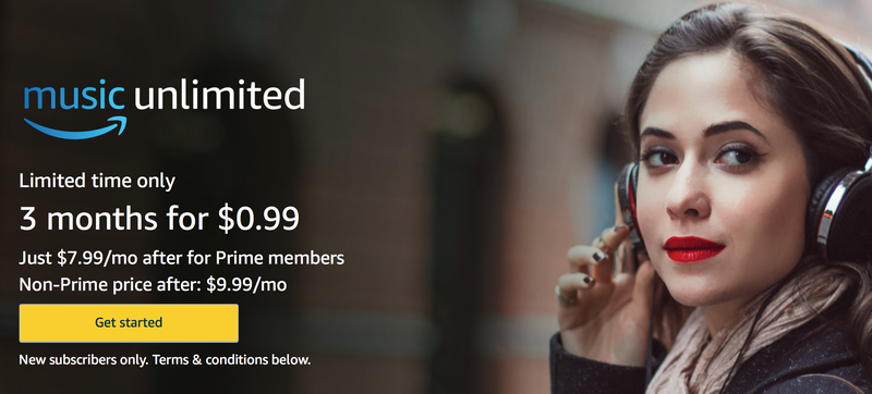 Three months Amazon Music Unlimited, $1. New Amazon Music Unlimited members only.