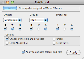 Illustration for article titled BatChmod Mass Edits Permissions in Mac OS X