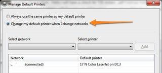 Illustration for article titled Set Default Printers Based on Network in Windows 7