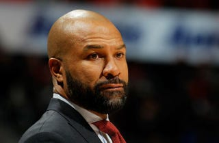Derek Fisher of the New York Knicks looks on during the game against the Atlanta Hawks at Philips Arena Jan. 5, 2016, in Atlanta.Kevin C. Cox/Getty Images