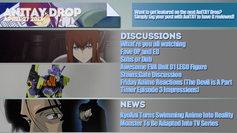 Illustration for article titled AniTAY Drop (April 26, '13) Weekly Round-up of all things Anime on TAY