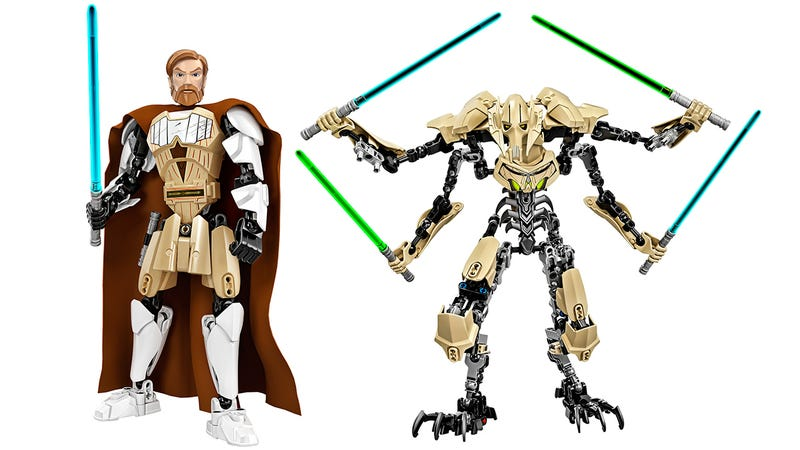 Illustration for article titled Build your own Obi-Wan Kenobi and General Grievous Lego figures