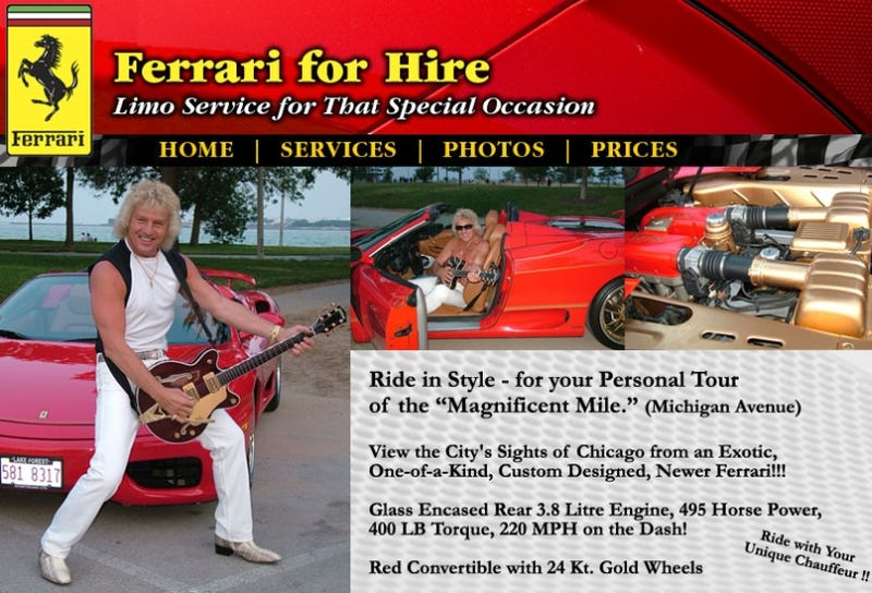Illustration for article titled Would You Pay This Douche $300 To Drive You In His Ferrari?
