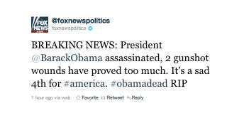 Illustration for article titled Fox News' Twitter Account Hacked, Claims Barack Obama Is Dead