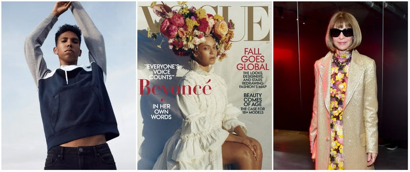 (L-R) Tyler Mitchell poses for a self-directed American Eagle campaign; Beyoncé appears on the September 2018 cover of Vogue magazine; Vogue Editor-In-Chief Anna Wintour attends the Prada Resort 2019 fashion show on May 4, 2018 in New York City.