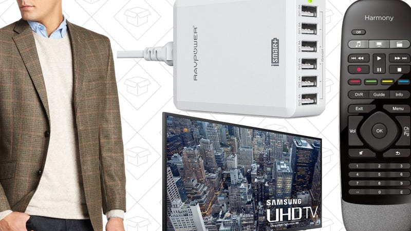 Illustration for article titled Today's Best Deals: Haggar Clothes, Logitech Harmony, 4K TV, and More