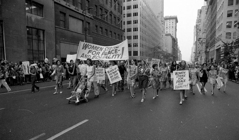 Women demonstrators march down 5th Ave., at 52nd street in New York City on Aug. 26, 1970. Photo via AP.