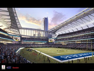 Illustration for article titled Los Angeles May Not Have An NFL Team, But It Does Have Three Shiny Stadium Designs