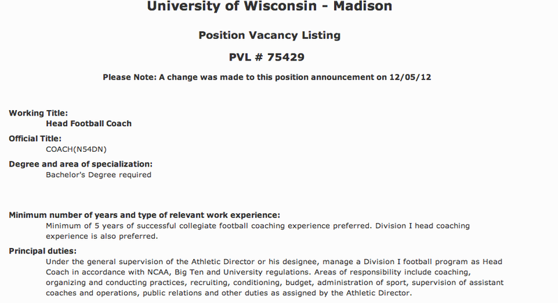"""Illustration for article titled """"Minimum of 5 Years Of Successful Collegiate Football Coaching Experience Preferred"""": You Can Apply To Coach Wisconsin Football"""