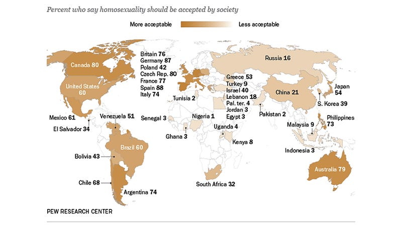 Illustration for article titled Oh Canada, Ew Nigeria: Which Countries Are Most Accepting Of The Gays?