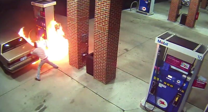 Illustration for article titled Guy Starts Fire While Trying To Kill A Spider At The Gas Pump