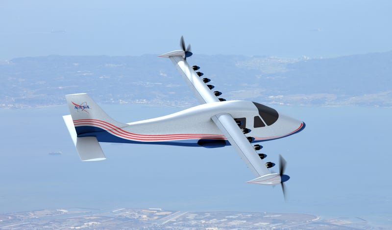 Artist's concept of NASA's X-57 aircraft. Image: NASA Langley/Advanced Concepts Lab, AMA, Inc.