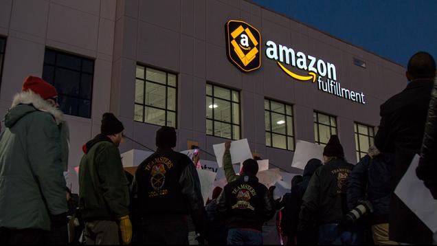 Hundreds March on Amazon Fulfillment Center in Minnesota