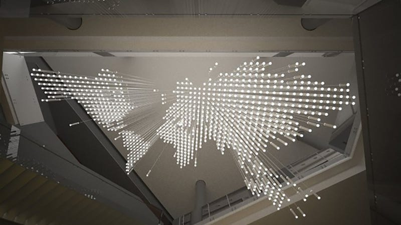 Illustration for article titled This Interactive Chandelier Shines With Data From All Over the World