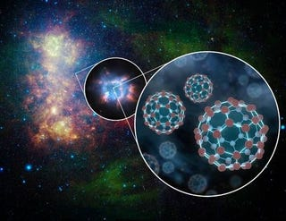 Illustration for article titled Giant carbon buckyballs might have helped bring about life on Earth