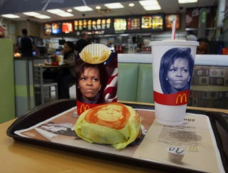 Illustration for article titled Disapproving Michelle Obama To Be Printed On All Fast Food Containers