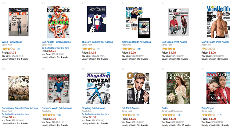 12-Month Magazine Subscriptions, $4-$10