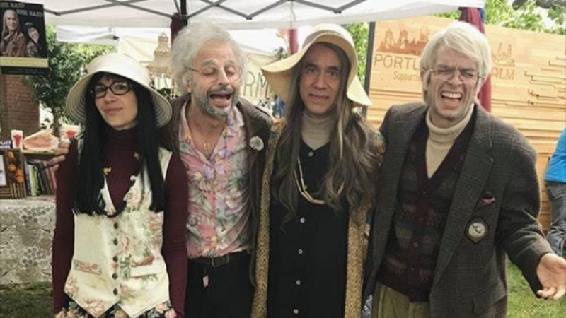 Carrie Brownstein, Nick Kroll, Fred Armisen, and John Mulaney in character (Photo via Carrie Brownstein's Instagram)