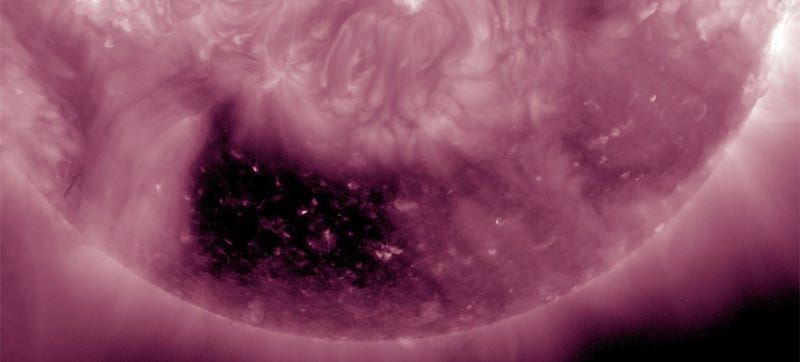 Illustration for article titled NASA finds strange dark square hole in the Sun