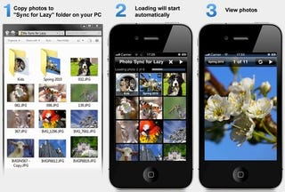 Illustration for article titled PhotoSync for Lazy Auto-Syncs Your Photos to Your iPhone Over Wi-Fi