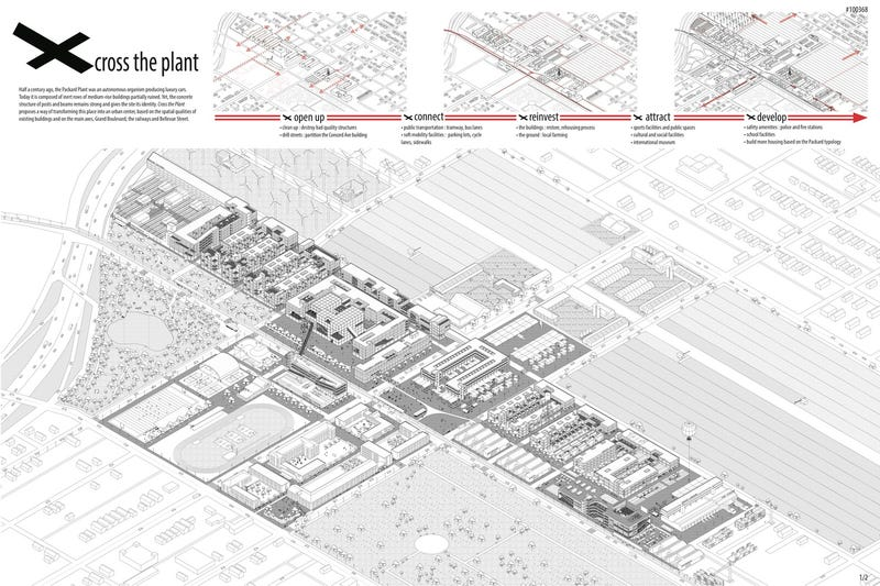 Illustration for article titled Here's How Architects Would Re-Imagine The Packard Plant