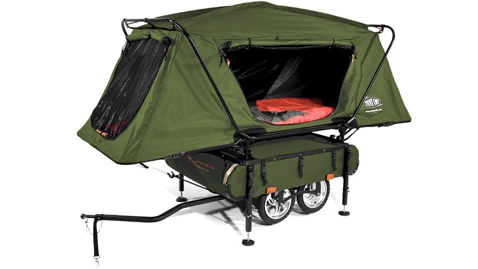 But why squeeze into an awkward one-person tent when you can haul your own miniature pop-up ...  sc 1 st  Gizmodo & You Can Pull the Worldu0027s Smallest Pop-Up Camper With Your Bike