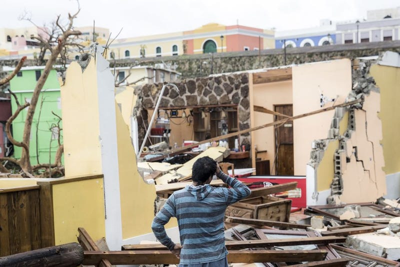 Damaged homes in the La Perla neighborhood of San Juan, Puerto Rico, the day after Hurricane Maria made landfall on Sept. 21, 2017. (Alex Wroblewski/Getty Images)