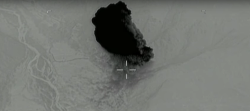A still from a video released by the U.S. Air Force of the MOAB being dropped on ISIS militants.