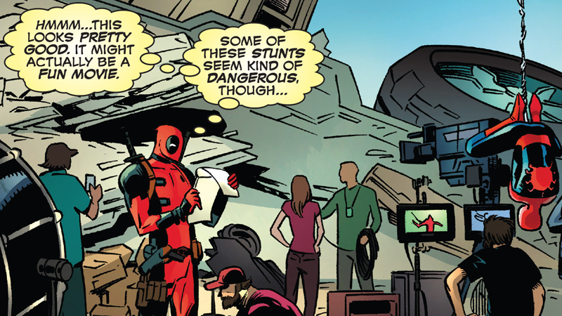 Deadpool and Spider-Man on the set of, err, Deadpool in Spider-Man/Deadpool #6. But not *that* Deadpool.